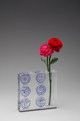Crystal Vase with Ancient Coin Motif, Blue